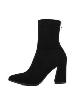 Koovan Women's New Boots 2018 Autumn And Winter Female Short Boots Thick Heel High Heeled Suede Women's Shoes  by Koovan