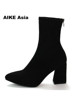 2018 Faux Suede Women Sock Boots Thick High Heels Ankle Boots For Women Fashion Slim Stretch Shoes Woman Bota Feminina by Aike Asia