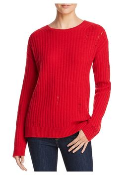 Rib Knit Distressed Cashmere Sweater   100 Percents Exclusive by Aqua Cashmere