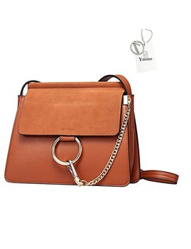 Yoome Women Genuine Leather Crossbody Shoulder Purse Chain Messenger Bag For Girls Split Fashion Clutch   Brown by Yoome