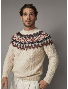 Jacquard And Cable Knit Wool Sweater by Massimo Dutti