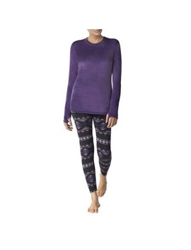 Climateright By Cuddl Duds Women's Stretch Luxe Velour Warm Underwear Top And Legging by Cuddl Duds