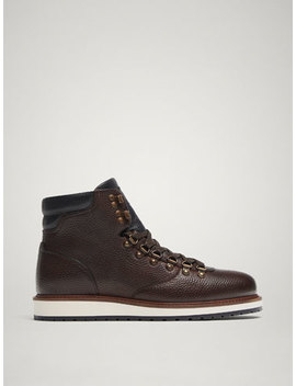 Brown Leather Boots With Hooks by Massimo Dutti