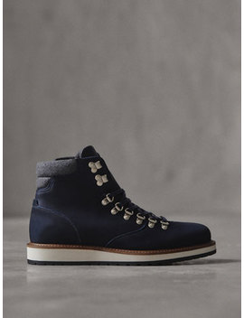 Winter Capsule Blue Nubuck Leather Mountain Boots by Massimo Dutti