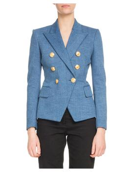 Double Breasted Classic Denim Blazer by Balmain