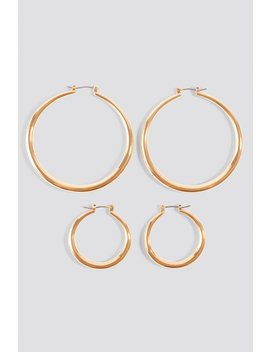2 Pack Uneven Hoop Earrings Gold by Na Kd