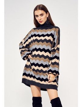 Multi Color Stripe Soft Knit Oversized Jumper Dress by Exceptional London