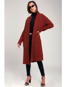 Cozy Place Wine Red Long Cardigan Sweater by Lulus