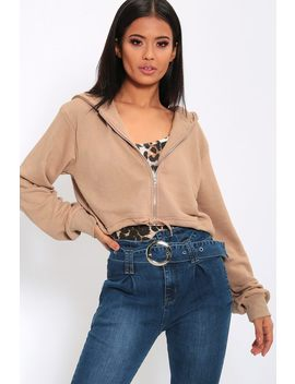 Camel Zip Up Crop Hoodie by I Saw It First