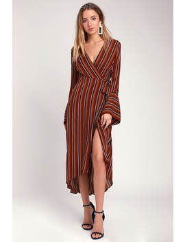 Appleton Rust Red Striped Long Sleeve Wrap Midi Dress by Lush