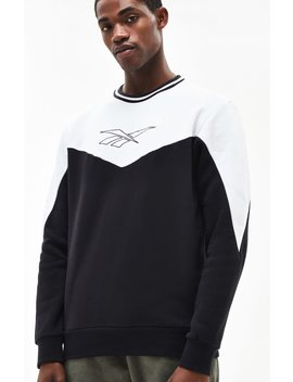 Reebok Lf Black & White Crew Neck Sweatshirt by Pacsun