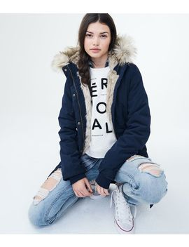 Solid Built Up Hooded Parka by Aeropostale