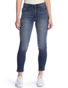 Velvet Trim High Rise Skinny Jeans by Sp Black