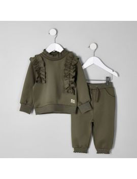 Mini Girls Khaki Frill Sweatshirt Outfit by River Island