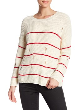 Distressed Striped Knit Sweater by Cotton Emporium