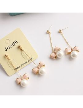 Joodii   Faux Pearl Bow Drop Earring by Joodii