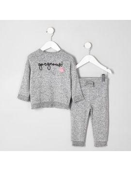 Mini Girls Grey Shirred Hem Outfit by River Island