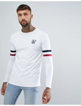 Sik Silk Long Sleeve T Shirt With Stripe Sleeves In White by Sik Silk