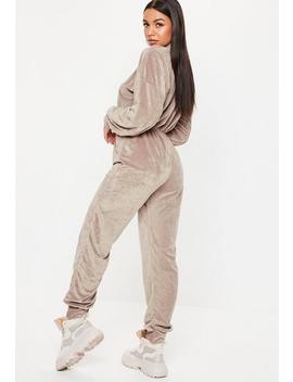 Grey Funnel Neck Zip Velour Jumpsuit by Missguided