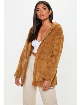 Tan Reversible Zip Through Borg Teddy Jacket by Missguided