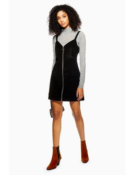 Corduroy Zip Up Dress by Topshop