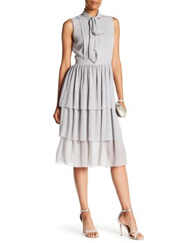 Georgette Silk Ruffle Dress by St. John Collection