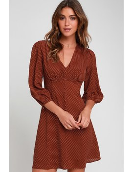 Lucia Brown Polka Dot Three Quarter Sleeve Dress by Lulu's