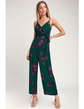 Lexis Dark Green Floral Print Tie Front Jumpsuit by Lush