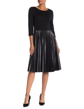 Milano Knit & Faux Leather Pleated Dress by St. John Collection