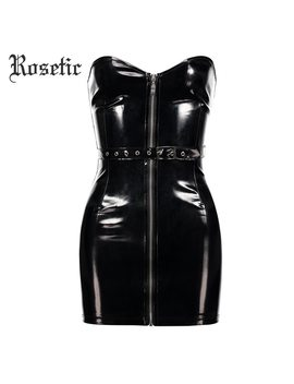 Rosetic Pu Backless Dress Gothic Style Autumn Sequined Rivet Black Sashes Sleeveless Strapless Women Sexy Leather Mini Dresses by Rosetic