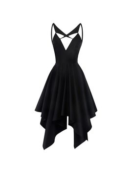 Rosetic Women Gothic Black Dress Asymmetrical Deep V Neck Backless Dress Fashion Summer Party Girl Sexy Slim A Line Goth Dress by Rosetic