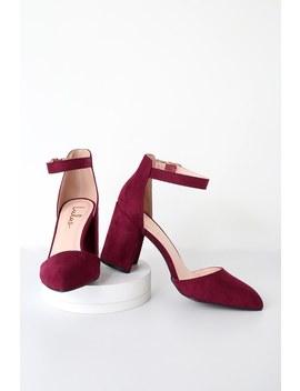Ellarose Burgundy Suede Ankle Strap Heels by Lulus