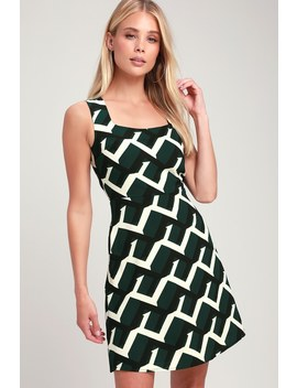 Dina Forest Green Print Square Neck Dress by Lulus