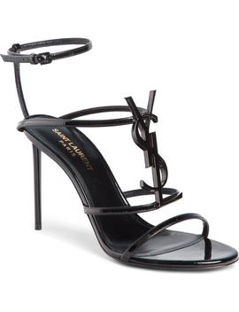 Cassandra Ysl Logo Sandal by Saint Laurent
