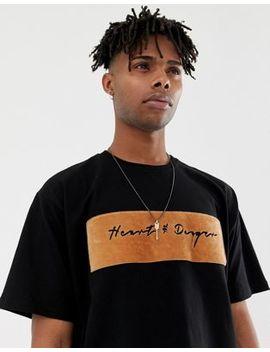 Heart & Dagger Oversized Textured Panelled Logo T Shirt by Heart & Dagger