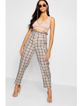 Paperbag Waist Pocket Woven Check Trousers by Boohoo
