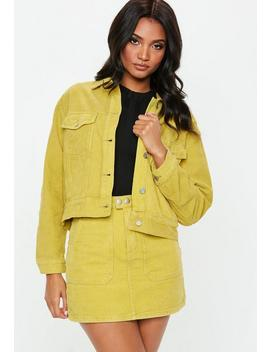 Yellow Cord Trucker Jacket by Missguided
