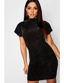 Glitter High Neck Angel Sleeve Midi Dress by Boohoo
