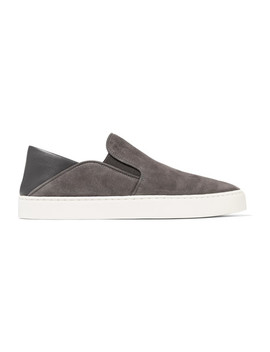 Garvey Leather Trimmed Suede Slip On Sneakers by Vince