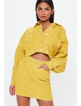 Petite Mustard A Line Cord Mini Skirt by Missguided