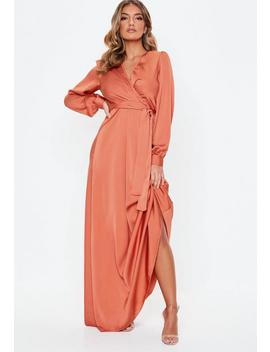 Coral Satin Wrap Over Maxi Dress by Missguided
