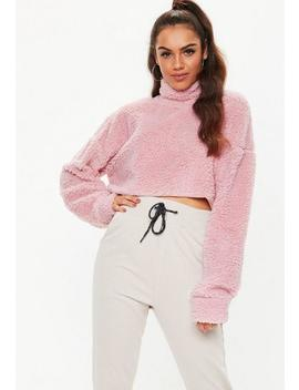 Pink Borg Teddy High Neck Cropped Sweatshirt by Missguided