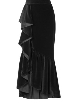 Arianna Ruffled Velvet Maxi Skirt by Alice + Olivia