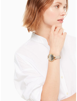 Varick Cityscape Grey Leather Watch by Kate Spade