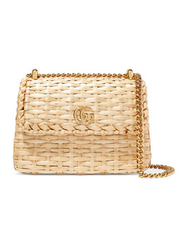 Linea Cestino Mini Leather Trimmed Wicker Shoulder Bag by Gucci