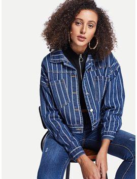 Striped Crop Denim Jacket by Sheinside