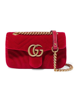 Gg Marmont Mini Schultertasche Aus Gestepptem Samt by Gucci