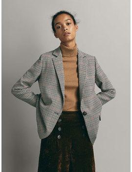 Check Wool Blazer Coat by Massimo Dutti