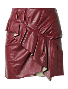 Zeist Ruffled Faux Textured Leather Mini Skirt by Isabel Marant Étoile