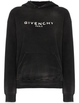 Logo Printed Distressed Hoodie by Givenchy